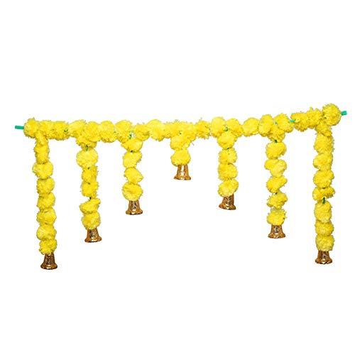 Set di ghirlande artificiali con calendula e fiori soffici e ghirlande per porta, decorazione da appendere, colore giallo con campana (dimensioni: 101,6 cm di lunghezza)