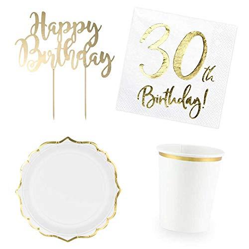 DekoGuru® Produktset Basic weiß mit gold (für 12 Pers) (30. Geburtstag)