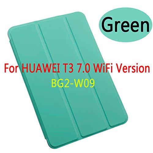 para la Cubierta para Huawei MediaPad T3 7 3G / WiFi versión BG2-U01U03 BG2-W09 7.0 Funda de Tableta PU Cuero Smart Sleep Cubierta de Soporte Triple-T3 7.0 WiFi BG2-W09