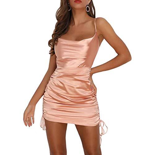 Damen Sexy Riemen Kleid Rüschen Satin Seite Kordelzug Mini Cami Dress (Champagne, S)