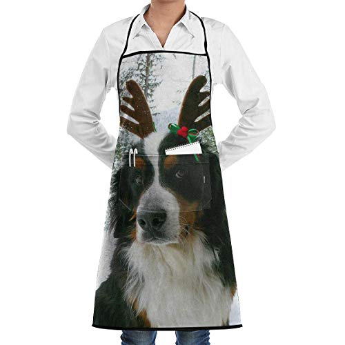N\A Restaurant Aprons with Pockets, Bernese Mountain Dog Christmas Reindeer Bib Apron for Adult