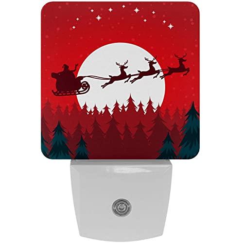Christmas Raindeer & Santa-01 - Lámpara de noche LED con impresión de luz nocturna para niños, con luz nocturna al atardecer hasta el amanecer, ideal para dormitorio, baño, escaleras, cocina, pasillo