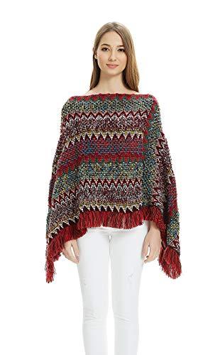 Ferand gestreepte Mexicaanse meerkleurige boho dames poncho-sjaal gebreide pullover