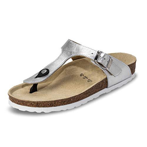 VITAFORM® Damen Zehentrenner Sandale Echt Leder Mit Naturkork Und Luftpolsterfußbett (Silber, Numeric_41)