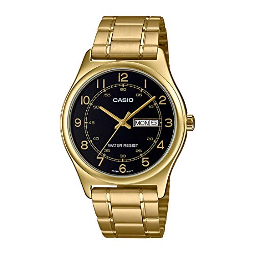 Casio MTP-V006G-1B Men's Gold Tone Stainless Steel Easy Reader Black Dial Day Date Analog Dress Watch