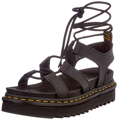 Dr. Martens Women's Gladiator with Ankle-tie Sandal, Black, 7
