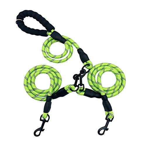 2-Wege-Hundeleine,Nylon,kein Verheddern,reflektierend,doppelte Hundeleine,stoßdämpfend,Bungee-Doppel-Leinenkupplung,für 2 große bis mittelgroße Hunde an einer Leine, kein Verheddern,360 ° drehbarer