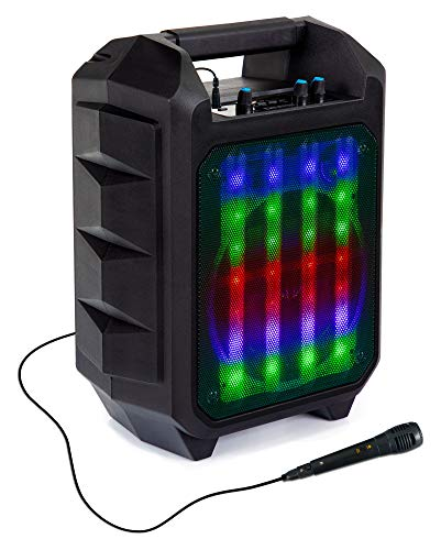 Beatfoxx OutdoorJam LED Bluetooth Lautsprecher - Mobile Karaoke Anlage - Outdoor Speaker mit Radio, USB und AUX - PA Anlage inklusive Hand Mikrofon - Integrierter 2200-mAh-Akku - schwarz