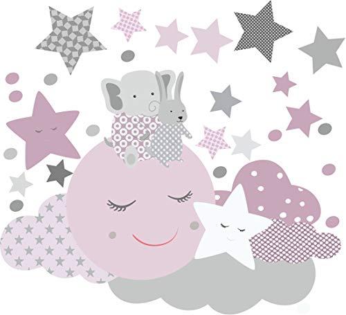 greenluup Öko Wandsticker Wandtattoo schlafender Mond Elefant Sterne Wolken Kinderzimmer Babyzimmer (Lila)