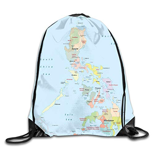 Philippines Astrative Political Map Cities And Seas Personalized Gym Drawstring Bags Travel Backpack Tote School Rucksack For Women Men