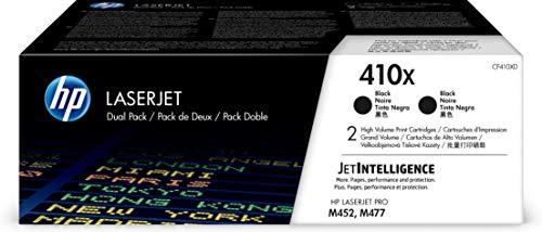 HP 410X | CF410XD | 2 Toner Cartridges | Black | Works with HP Color LaserJet Pro M452 Series, M377dw, MFP 477 Series | High Yield