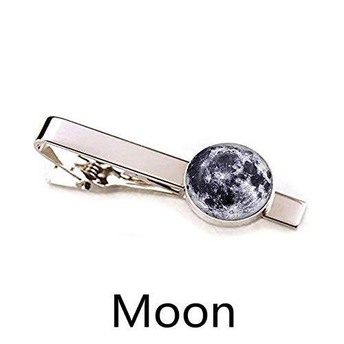 Sun Erde Mond Mars Jupiter Planet Silber Metall Krawattenklammern Männer Einfache Krawatte binden Pin Bar Verschluss Clip,Size 1