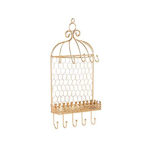 eLy Perchero de Hierro Forjado para joyería de Pared, Perchero para Almacenamiento de Joyas, Forma de Jaula de pájaros, Textura Rica, Adecuado para joyería, Color Dorado