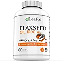 Leafed Flaxseed Oil Capsules 1000mg Omega 3 6 9 - 60 softgel Capsules (1 Month Supply) Plant-based and Cold-Pressed
