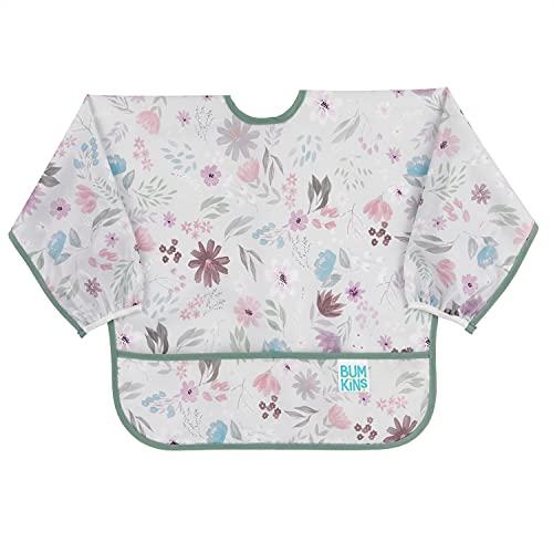 Bumkins Babero con manga, babero para bebé, impermeable, lavable, resistente a las manchas y los olores, 6 – 24 meses, diseño floral