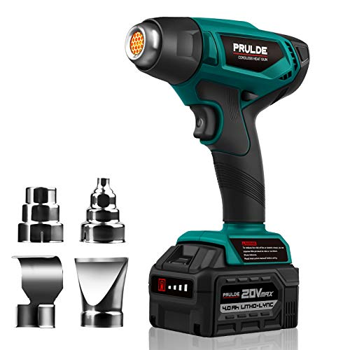 Cordless Heat Gun, PRULDE 20V Max Lithium-ion Battery Hot Air Gun Kit with 4.0Ah Rechargeable Battery&Charger, 4 Nozzle Attachments for Crafts, Shrink Wrapping, Phone Repairing, Tube Bending-NHG0140