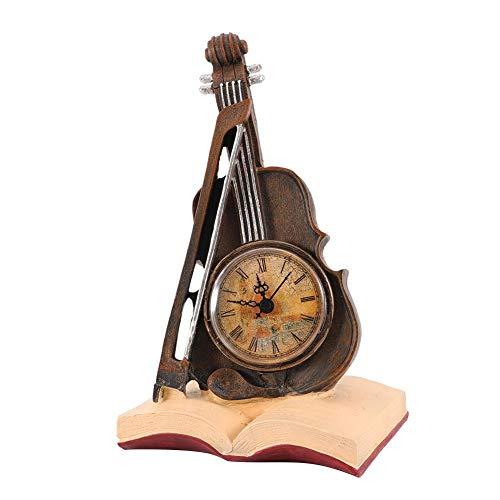 Wifehelper Vintage Resina Violín Modelo Reloj Escultura Reloj Decorativo Violín Decoración del Hogar Decoración de Escritorio