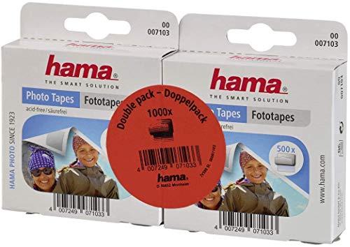Hama - Adhesivos para fotos (1000 unidades, autoadhesivos por las dos caras, caja dispensadora, sin ácidos ni disolventes, aptos para álbumes)