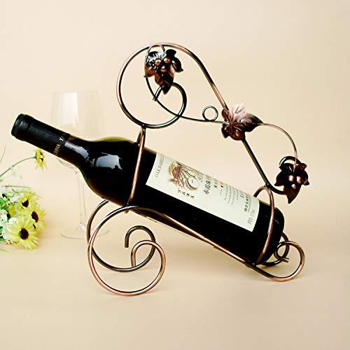 BININBOX Botellero Vino de Metal Soporte de Botella de Vino Estilo Elegante y Creativo de Moda Retro y Vintage 27×11×29CM