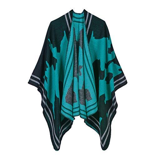 NUANYAYA Mode Damen Winter schal Decke Frauen Poncho warme Ponchos Capes Lange Stricken Dicke Frauen echarpe schals