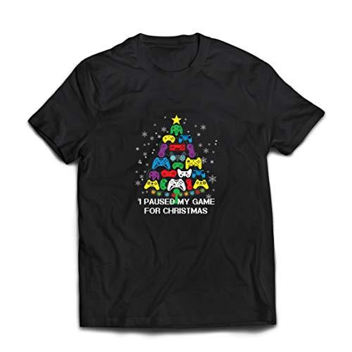 lepni.me Männer T-Shirt Ich Habe Mein Spiel für Weihnachten unterbrochen Lustig Gaming Outfit (X-Large Schwarz Mehrfarben)