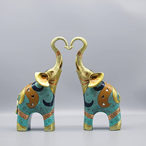 SUGUTEE Good Luck Large Elephant Statue Decorations for Home, Elephant Figurines Statues Home Decor, Elephant Gifts, Elephant Figurines with Trunk Up ( Handmade 2 Pcs )