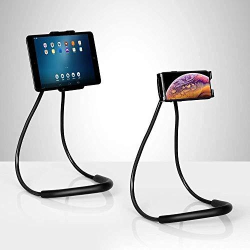 Cell Phone Neck Holder, Tablet Holder Stand Universal Phone Stand, Lazy Bracket, DIY Free Rotating Gooseneck Mounts (Black)