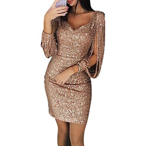 LUOEM GCID Vestito Aderente da Donna Vestito da Discoteca con Scollo a V con Scollo a V e Minigonna Abito da Cocktail Completo per Clubwear - Taglia M (Golden)