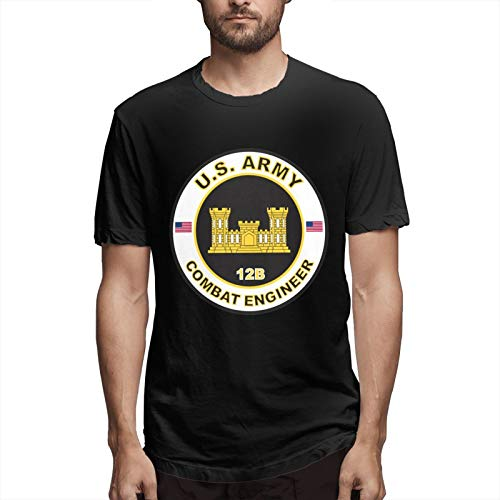 Us Army Combat Engineer T-Shirt Short Sleeve Logo Men's Graphic Novelty Cool Designs Fathers Day Tee Black