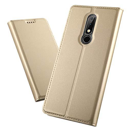 XINKO Nokia 6.1 Plus Wallet Tasche Hülle - [Ultra Slim][Card Slot][Eingebauter Magnet] Flip Wallet Hülle Etui für Nokia 6.1 Plus - Glatt Series Golden