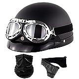 LHP Motorrad-Halb offener Helm Brain-Cap Halbschale Jet Halbhelm Mit Maske halber Helm für Erwachsene Herren Damen DOT/ECE Genehmigt (Color : Matte Black A, Size : One Size 57-60CM)