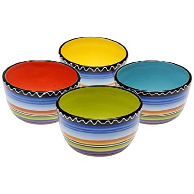 Certified International Tequila Sunrise Ice Cream Bowl, 5.25-Inch, Assorted Designs, Set of 4