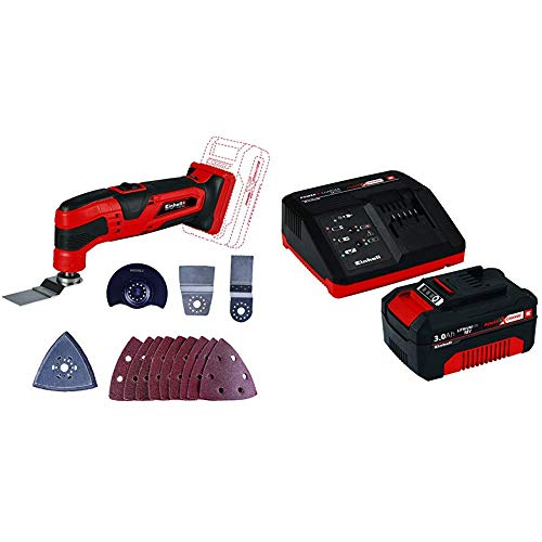 Einhell Akku Multifunktionswerkzeug Li-Solo Power X-Change + Original Einhell Starter Kit Akku und Ladegerät Power X-Change