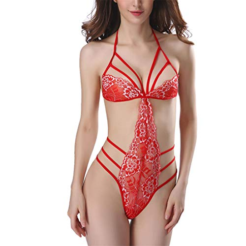 Lfly Damen Bodysuit Brust Harness Neckholder Dessous Sexy Halter Spitze Erotik...