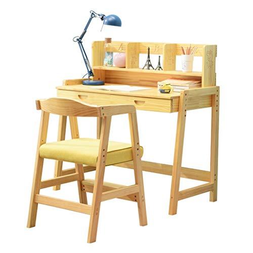 Bureau pour enfants ensemble bureau et chaise bureau étudiant relevable bureau d'ordinateur en bois massif (Color : Wood color)