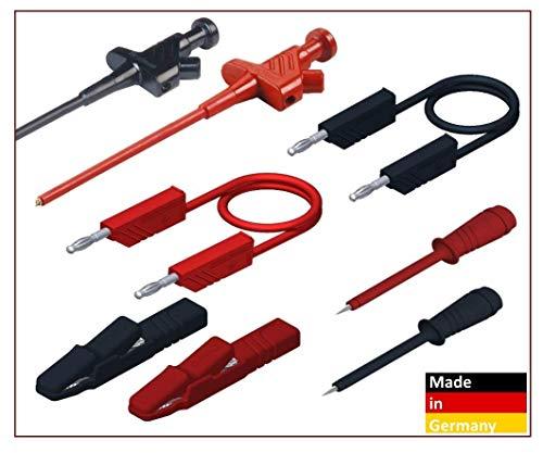 SKS Hirschmann Sicherheits-Messleitungs-Set PMS 4 mit Prüfspitzen Messleitungen Länge 1m Lamellenstecker 4mm Farbe Schwarz, Rot