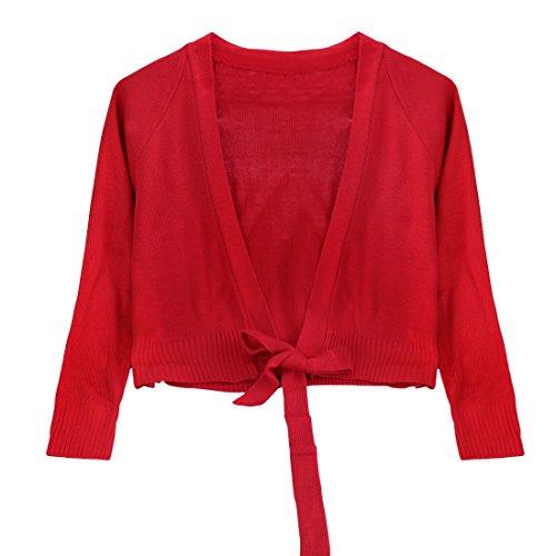 IEFIEL Chaquetas de Ballet Niñas Cárdigan Elegantes para Vestido de Danza Ballet Bolero Chicas Manga Larga para Maillot Gimnasia Camiseta de Punto Suéter Rojo A 10-12 años