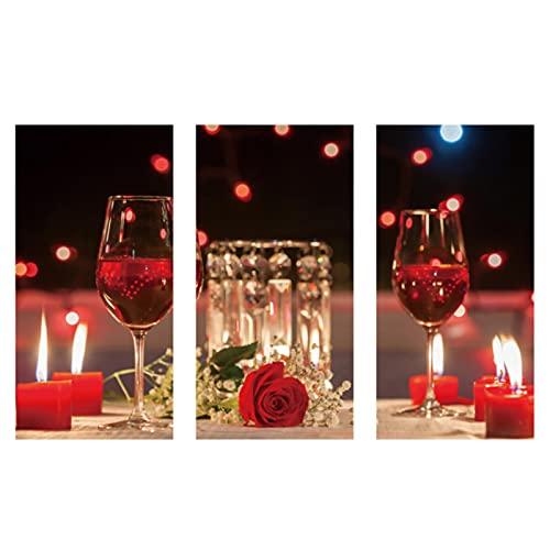 Pintura en lienzo, copa de vino tinto nórdica, estampado de rosas, decoración del hogar, imágenes de la vida nocturna, póster artístico de pared, decoración para el comedor, sin marco