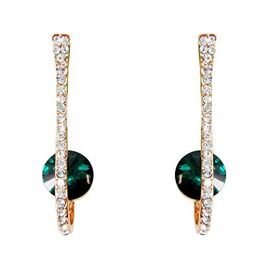 Navachi 18k Gold Plated Zircon Crystal Hook Stud Earrings green