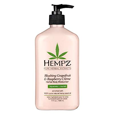 Hempz Blushing Grapefruit & Raspberry Creme Herbal Body Moisturizer Lotion - Fruit Body Cream - Pure Hempseed Oil, Shea Butter, Ginseng, Natural Extracts, Vitamins A, C, and D, Cucumber Extract