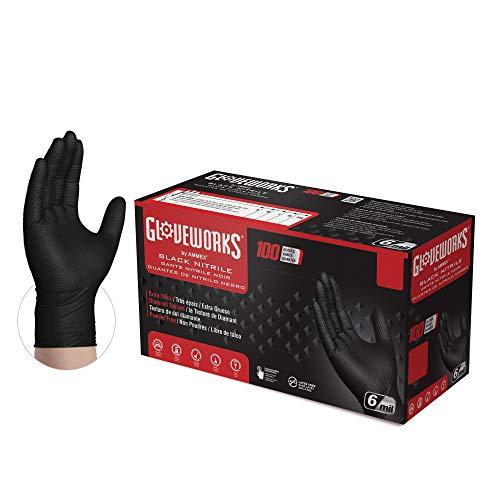 GLOVEWORKS HD Industrial Black Nitrile Diamond Texture Grip Disposable Gloves, Medium, 100 Count