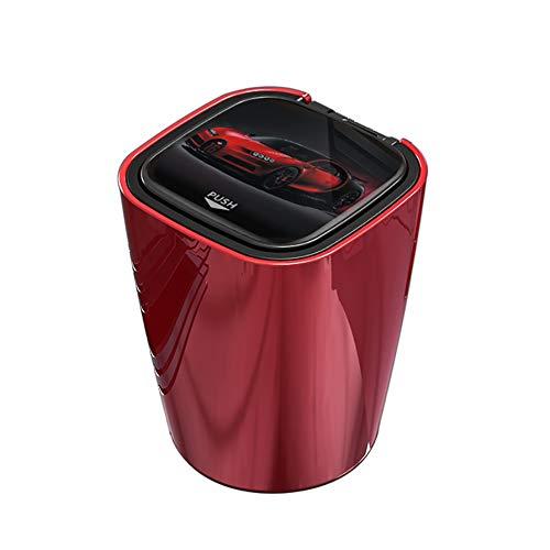 GONGXIANG 車用 灰皿 大容量 軽量 トリプル保護 ステンレス内槽 ワンタッチ ブルーLED付き クリーニングブラシ付き (赤)