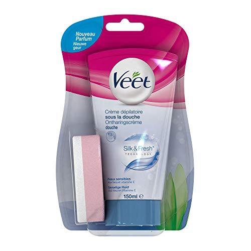 Veet Crema Depilatoria Corporal para Usar Bajo la Ducha para Mujer, Piel Sensible, 150 ml