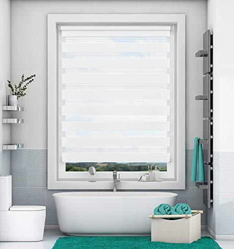 Magiea Doppelrollo Klemmfix ohne Bohren, Weiß 90 x 130 cm (BxH) Klemmrollos, Duo Rollos für Fenster und Tür, Sonnenschutzrollo Seitenzugrollo Fensterrollo lichtdurchlässig und verdunkelnd