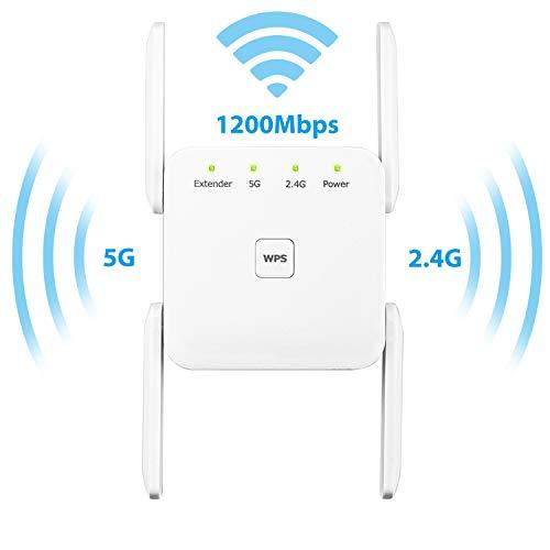 YOUKUKE Repetidor Extensor de Red WiFi, 5 GHz / AC1200 Mbps Amplificador Señal de WiFi Repetidor, WiFi Enrutador Inalámbrico, Función WPS/Puerto Ethernet/Cuatro Antenas
