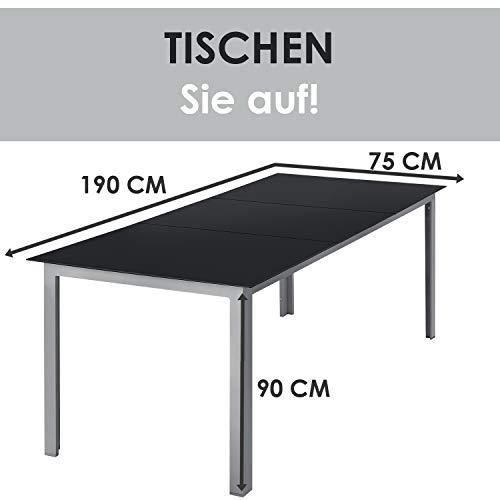 ArtLife Aluminium Gartengarnitur Milano | Gartenmöbel Set mit Tisch und 8 Stühlen | Silber-grau mit schwarzer Kunstfaser | Alu Sitzgruppe Balkonmöbel - 2