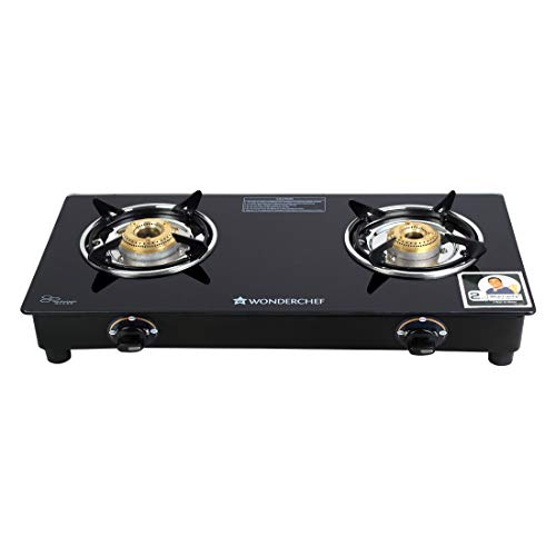 Wonderchef Power 2 Burner Toughened Glass MS Cooktop, Stainless Steel Drip Tray, Tri-pin, Anti-Skid Legs, Large pan Supports, Manual Ignition, Black