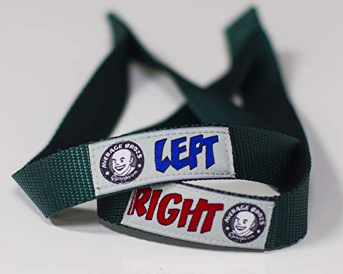 Average Broz Weight Lifting Straps by ABG - Color Coded Left/Right Hand Labels - 100% Made in The USA (British Racing)
