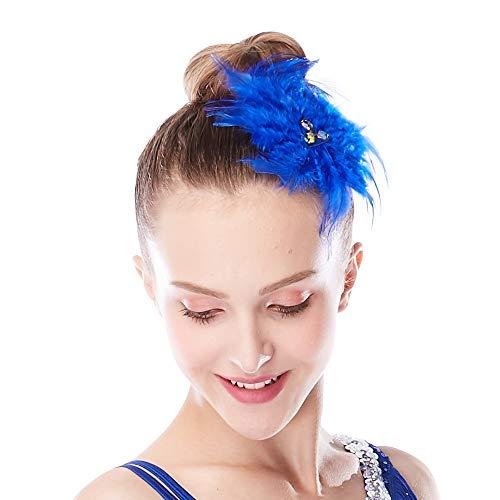 MiDee Neon Rhinestone Feather Hair Flower Dance Headpiece Accessories (Royal Blue)
