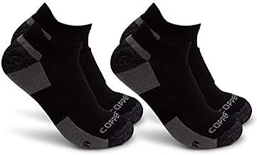 Copper Fit Mens Pro Walking LowCut Socks (Black, Large)